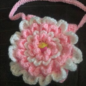 Hand crochet little girls spring hand bag